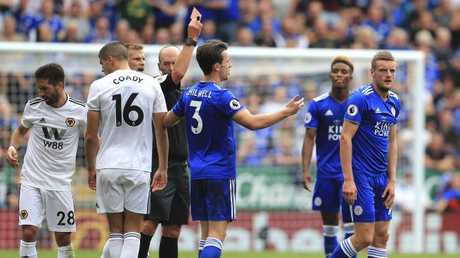 Leicester City's Jamie Vardy reacts after being shown a red card. Picture: AP Photo