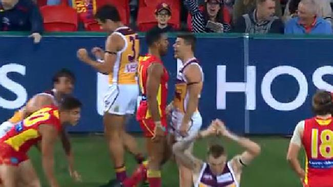 Dayne Zorko and Touk Miller were involved in a heated exchange after the siren.