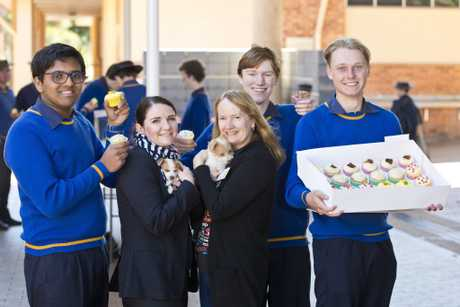 Supporting RSPCA Cupcake Day are (from left) Sayuru Abeysundera, Sandy Mathies, Judy Turley, Thomas Plant and Mitch Leeson, Monday, August 20, 2018.