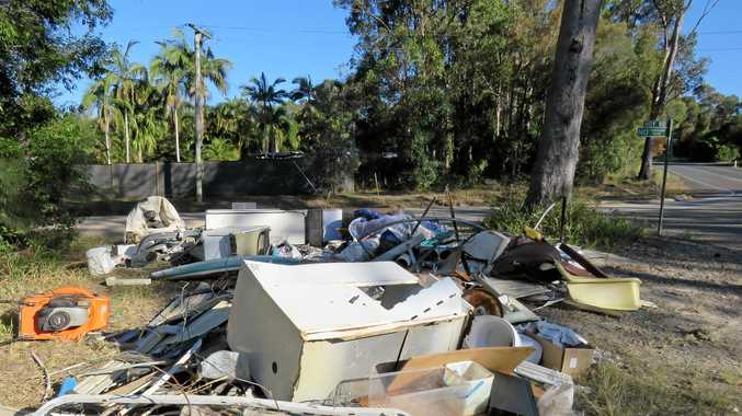 STILL THERE: A pile of rubbish, on public land, at the corner of Lake Macdonald Drive and Hoy Road was not removed in the recent kerbside pick-up.
