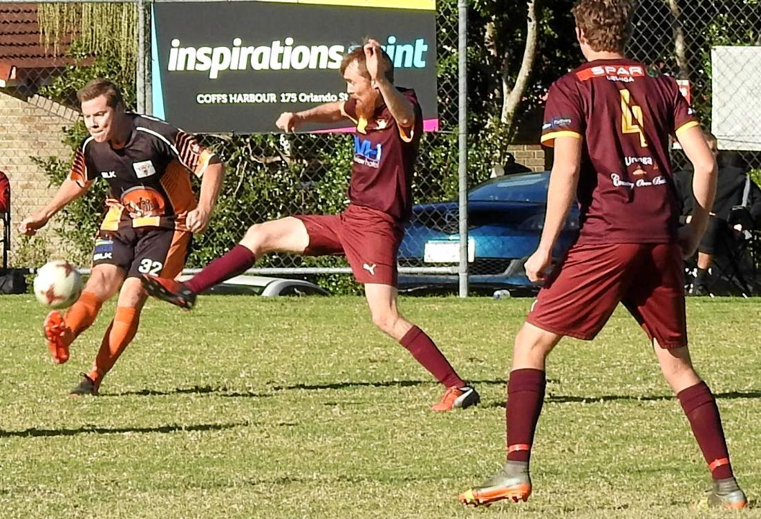 ATTACKING MOVE: Urunga took a long time to dispose of plucky Coffs Coast Tigers.