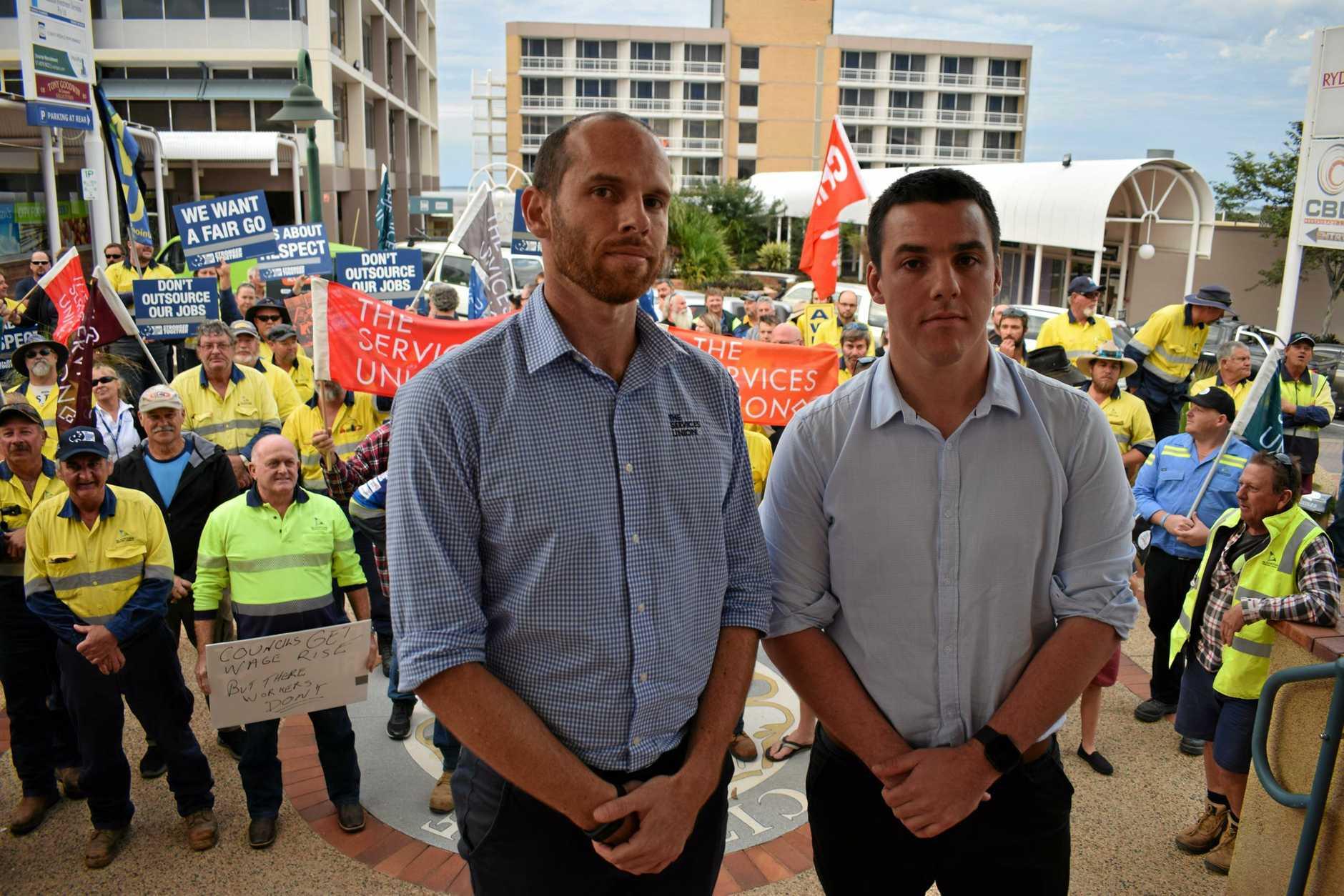 Australian Services Union Central Queensland organiser Chris McJannett and Australian Workers' Union Gladstone organiser Zac Beers.