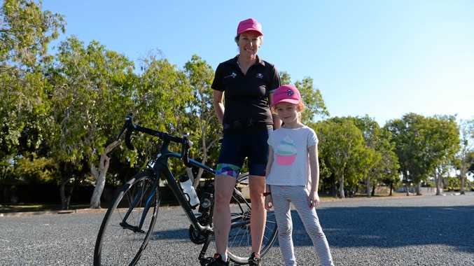 INSPIRING OTHERS: Tri-ActiV8 coach, Nikki Giles and her niece Mia Corness were snapped while out training her team for the Sunshine Coast 70.3 Ironman challenge.