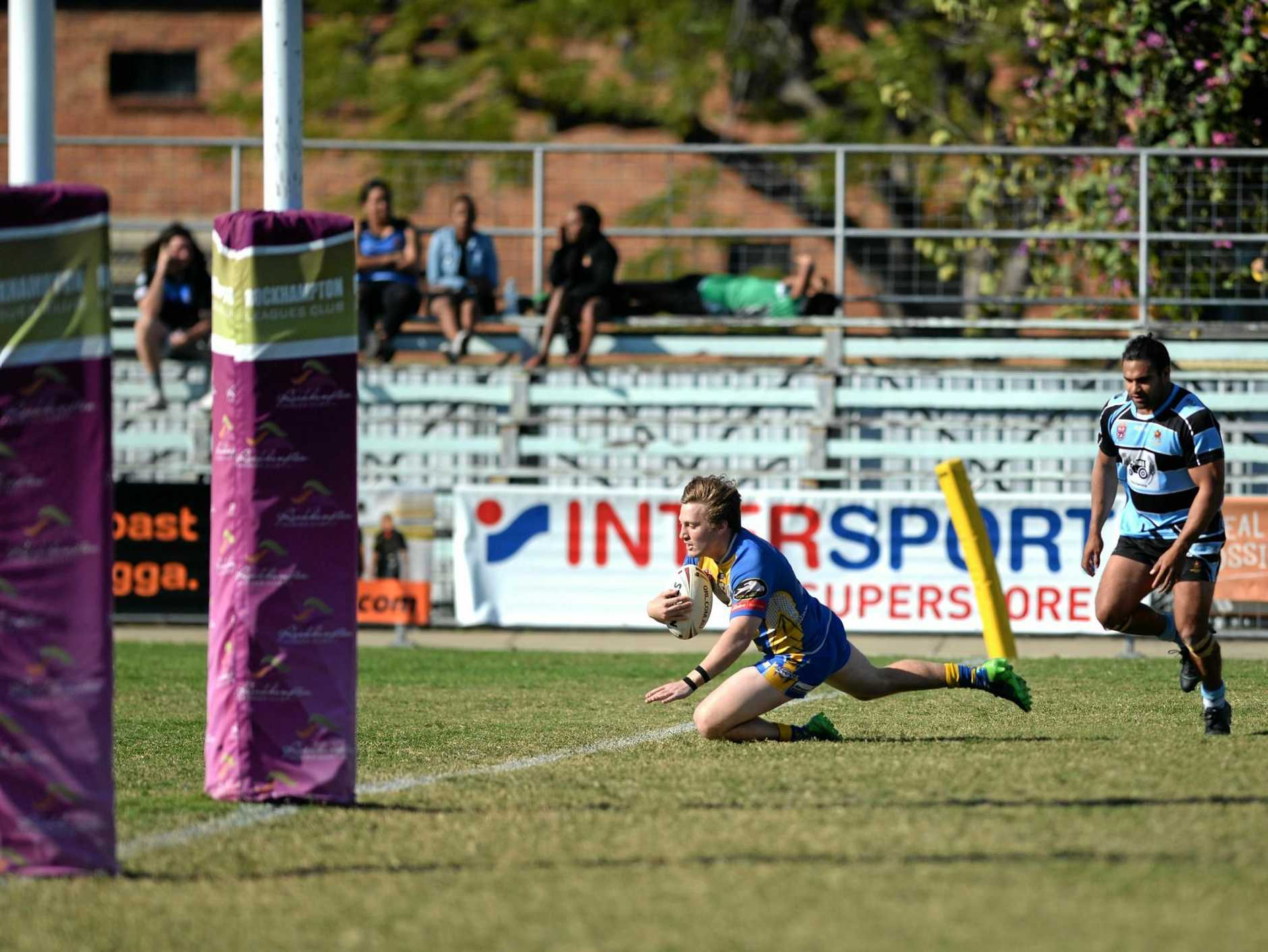 TRY TIME: Parry Boland goes in for Yeppoon's second try in the major semi-final against Norths at Browne Park on Sunday.
