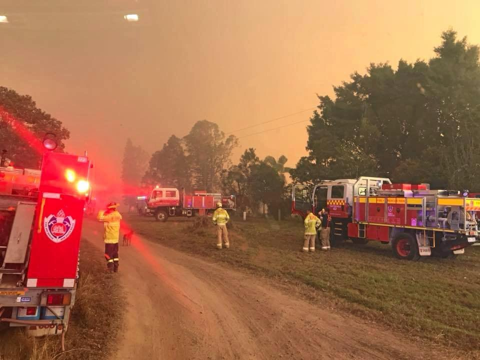Fire crews battled a break-off section of the major Ellangowan fire south of Casino yesterday. Properties in the Lagoon Rd, West Coraki area were  threatened.