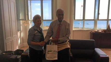 North Burnett Deputy Mayor Faye Whelan with Prime Minister of Tonga Samuela 'Akilisi Pohiva.