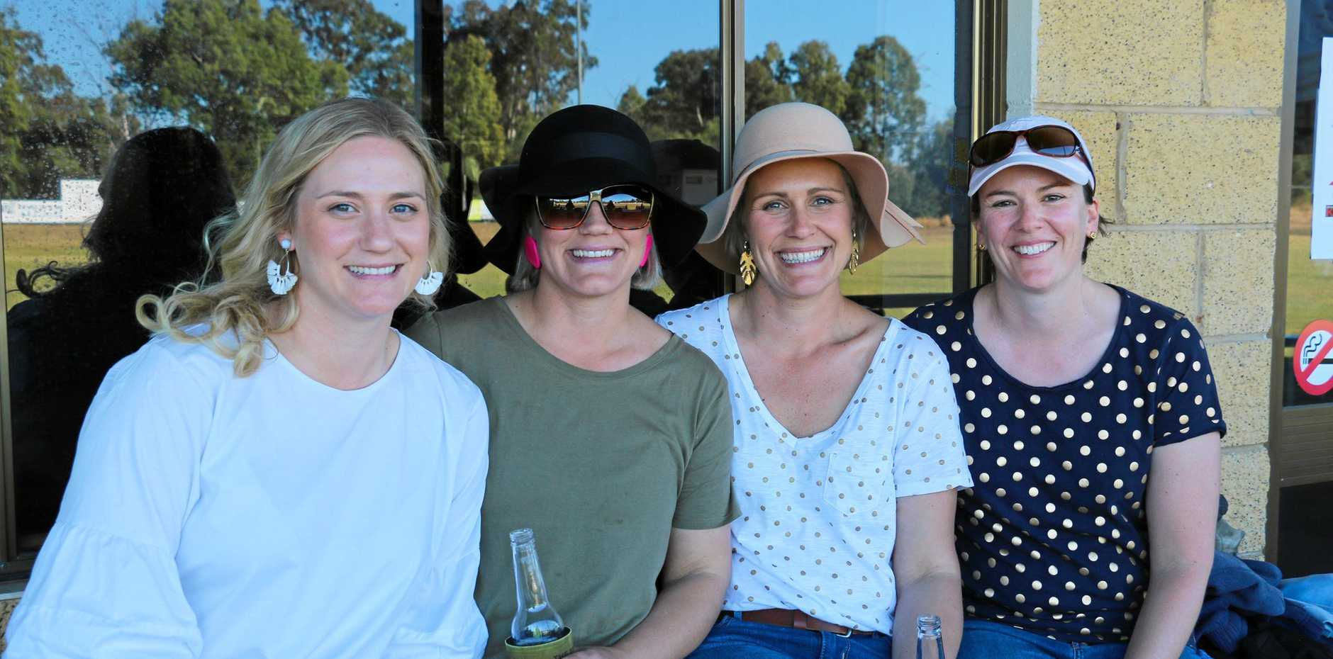 FUN AT THE FOOTY: Anna Reynolds, Bec Connolly, Mel Fraser, and Michelle Fraser.