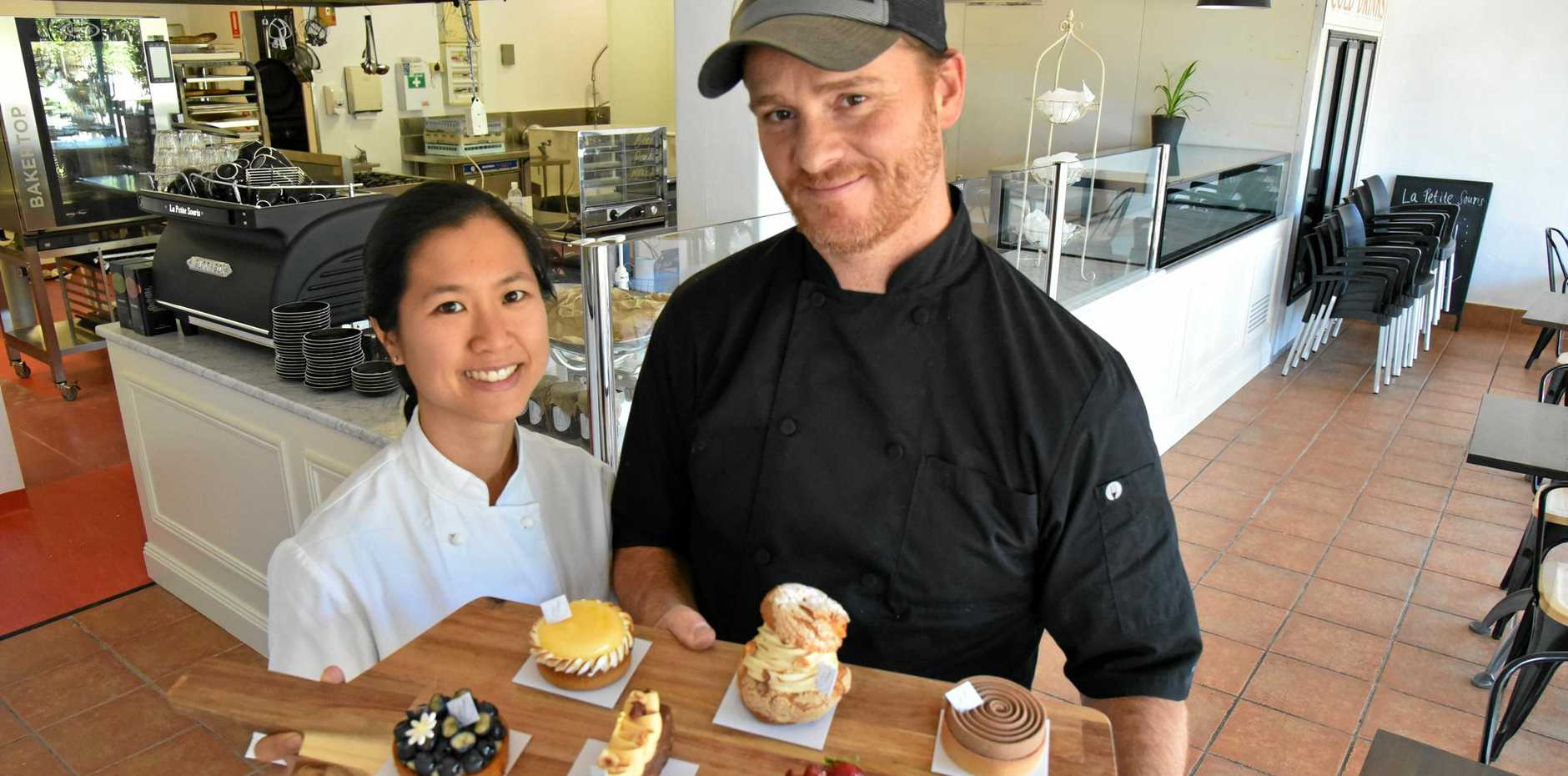 OUI OUI MON CHERI: Amie and Pierre Surieux are the owners of new French patisserie, La Petite Souris, at Alexandra Headland.