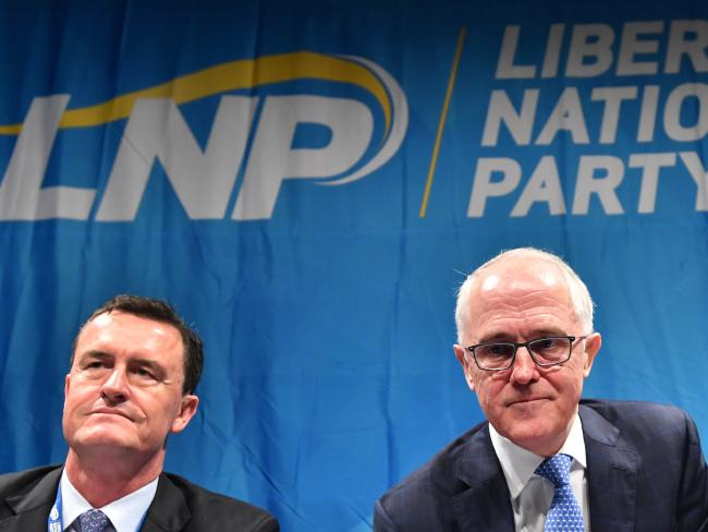 LNP Queensland president Gary Spence (left) and Prime Minister Malcolm Turnbull at the LNP state convention in Brisbane last month