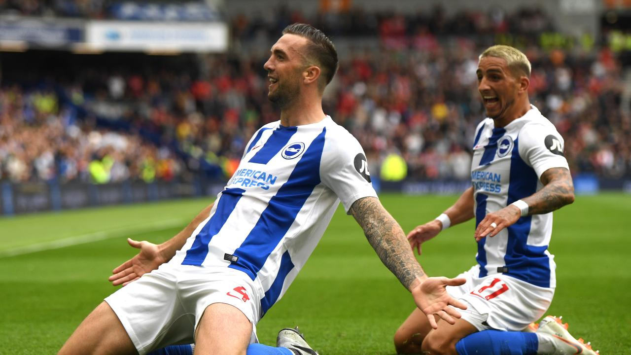 Shane Duffy of Brighton and Hove Albion celebrates after scoring his team's second goal.