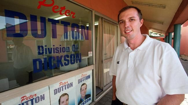 Peter Dutton outside his campaign office in the seat of Dickson in 2001. Dutton would go on to defeat star Labor candidate Cheryl Kernot, launching a political career that may yet lead him to The Lodge. Picture: Suzanna/Clarke