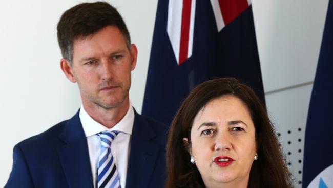 Transport Minister Mark Bailey with Premier Annastacia Palaszczuk