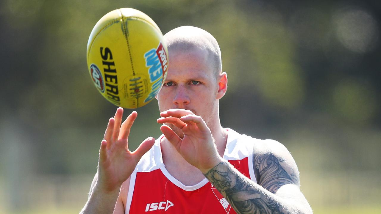 Zak Jones at Swans training on Monday. He admits he needs to tone down his on-field aggression. Picture. Phil Hillyard
