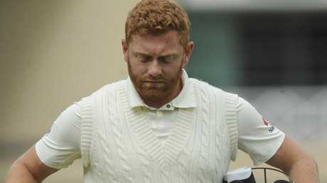 Jonny Bairstow leaves the ground after losing his wicket against England. Picture: AP Photo