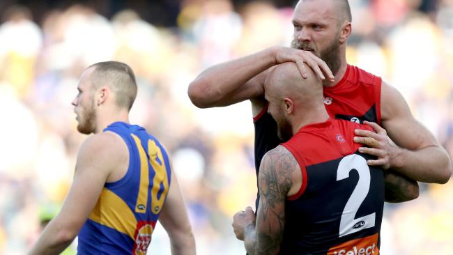 Max Gawn and Nathan Jones celebrate their win. Pic: AAP