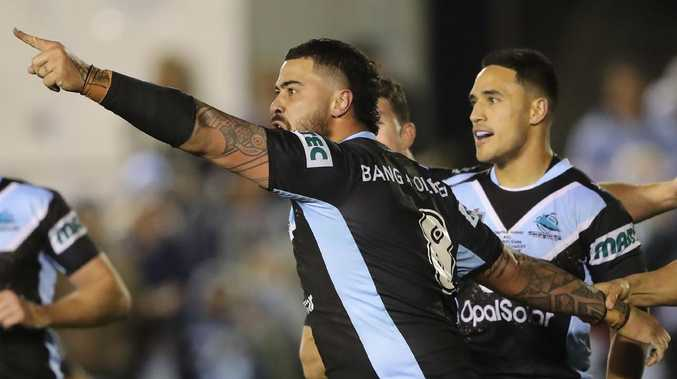 Andrew Fifita takes aim at the coaches box after scoring against the Cowboys. (Photo by Mark Evans/Getty Images)