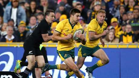 Jack Maddocks makes a break against the All Blacks in Bledisloe I in Sydney.