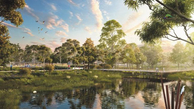 An artist's impression of Waterlea at Walloon's district park.