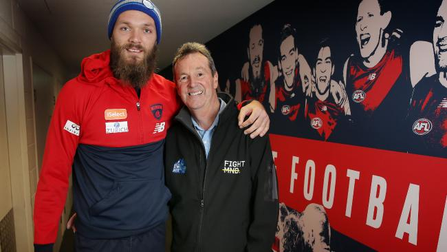 Melbourne ruckman Max Gawn with Neale Daniher. Pic: Michael Klein