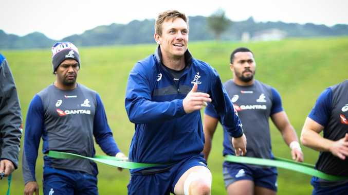 Wallabies winger Dane Haylett-Petty and his teammates train on Waiheke Island. Picture: rugby.com.au