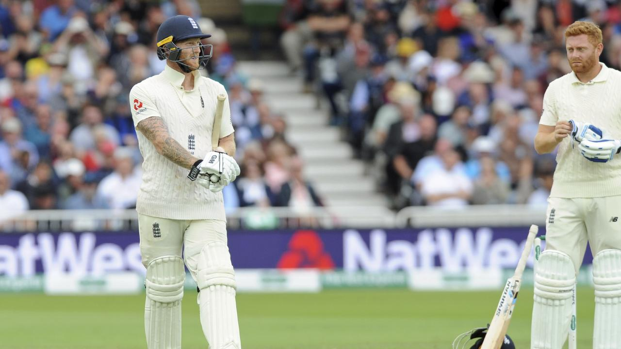 Jonny Bairstow looks on as Ben Stokes departs in England's disastrous first innings. Picture: AP