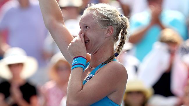 Kiki Bertens celebrates her win.