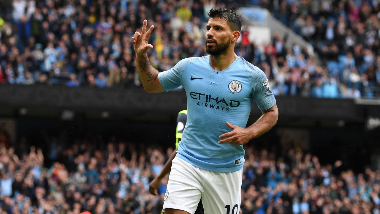 Sergio Aguero of Manchester City celebrates after scoring his hat-trick.
