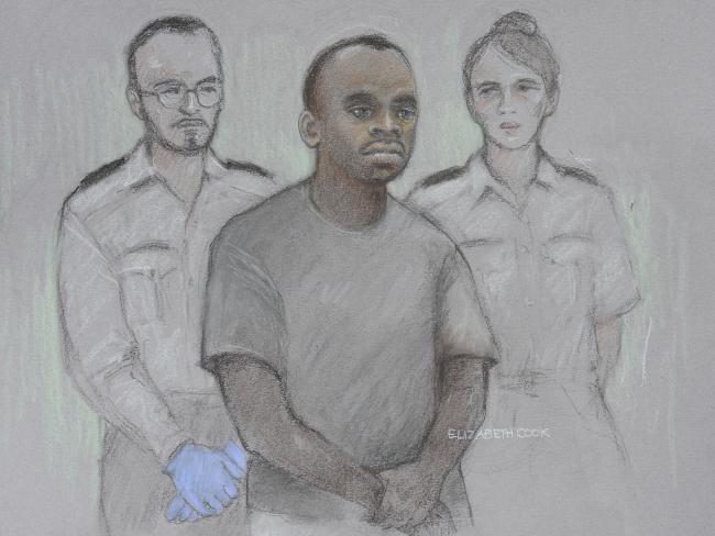 A court artist's sketch of 29-year-old Sudanese national Salih Khater in the dock at Westminster Magistrates Court. Picture: Elizabeth Cook/PA via AP