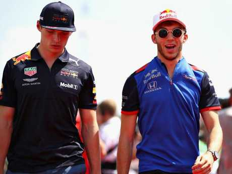 Pierre Gasly (R) is a hot favourite to partner Max Verstappen next year.
