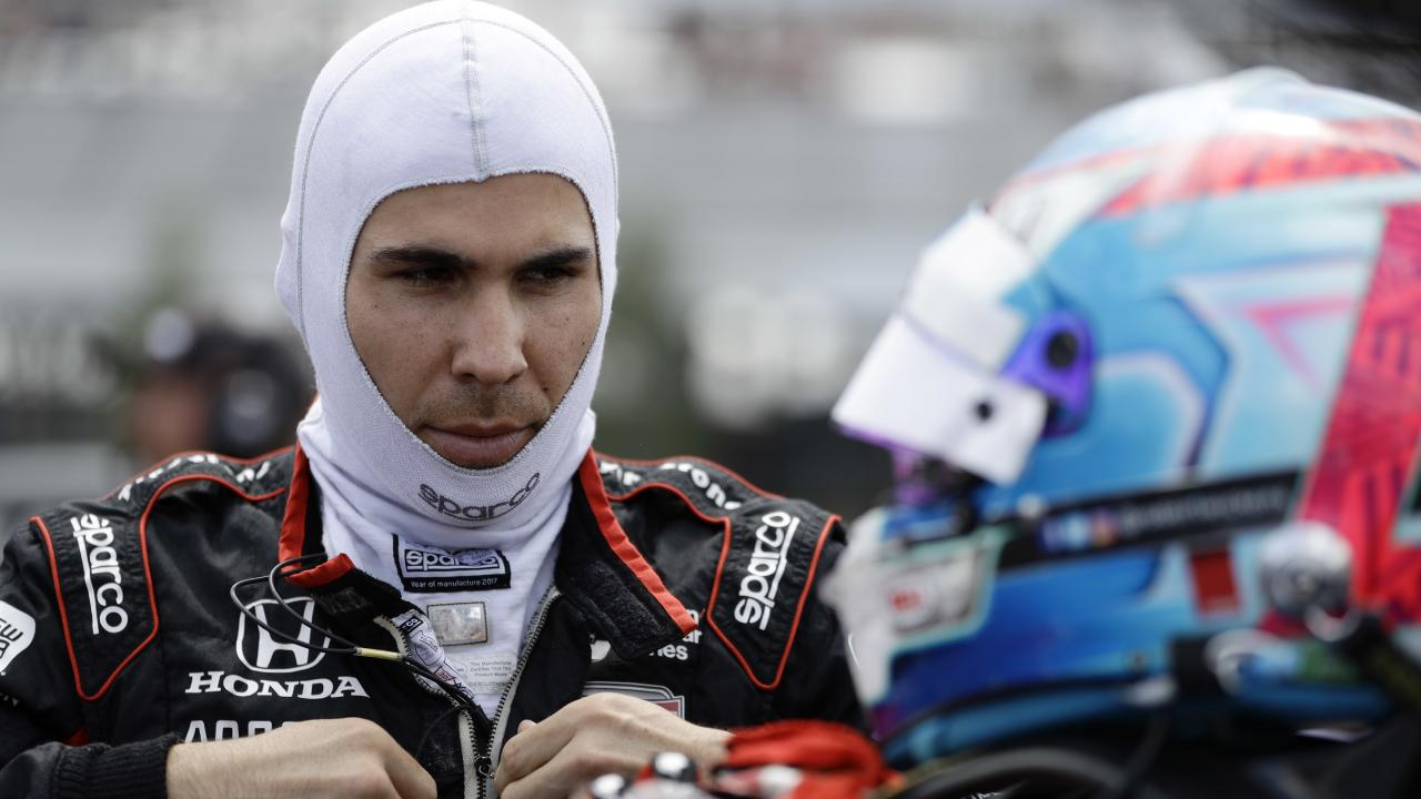 Robert Wickens preparing for qualifying at Pocono. Picture: AP