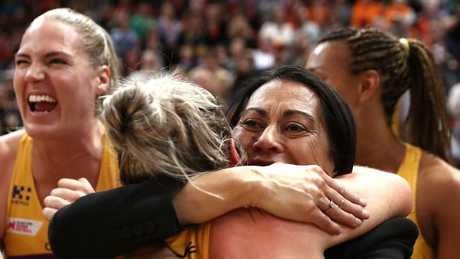 Noeline Taurua celebrates the preliminary final victory over the Giants. Photo: Getty Images
