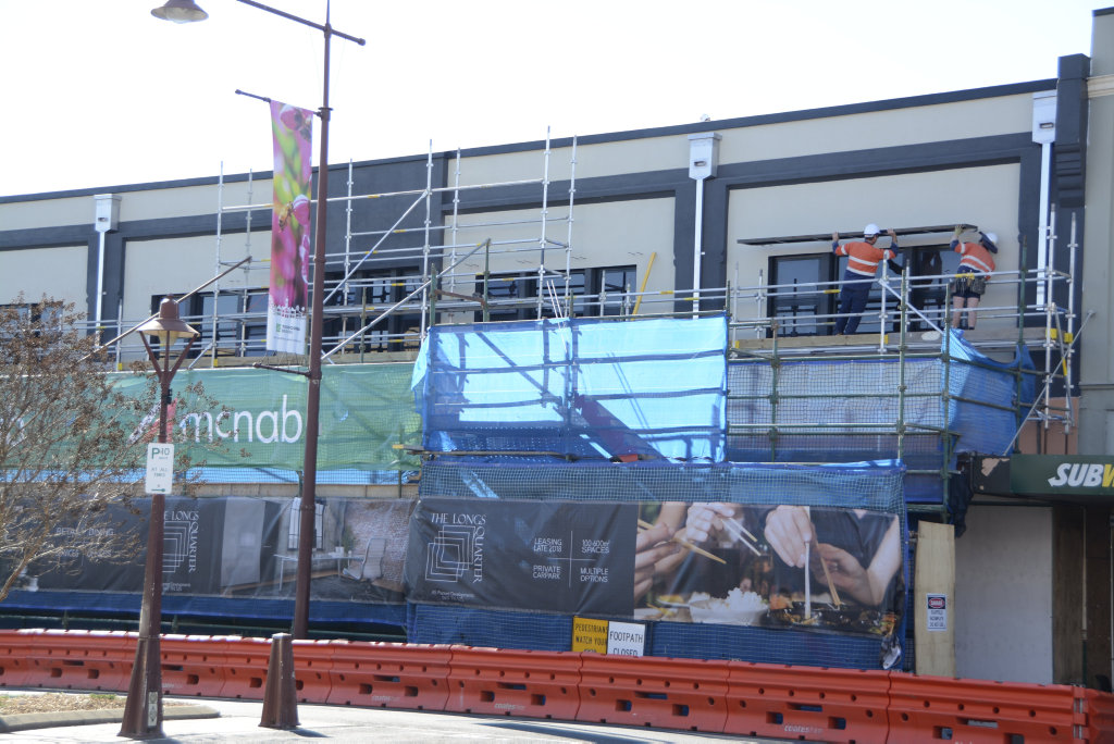 WORK STARTS: Scaffolding has gone up on the Longs Building as part of a major redevelopment at the historic Toowoomba CBD site.