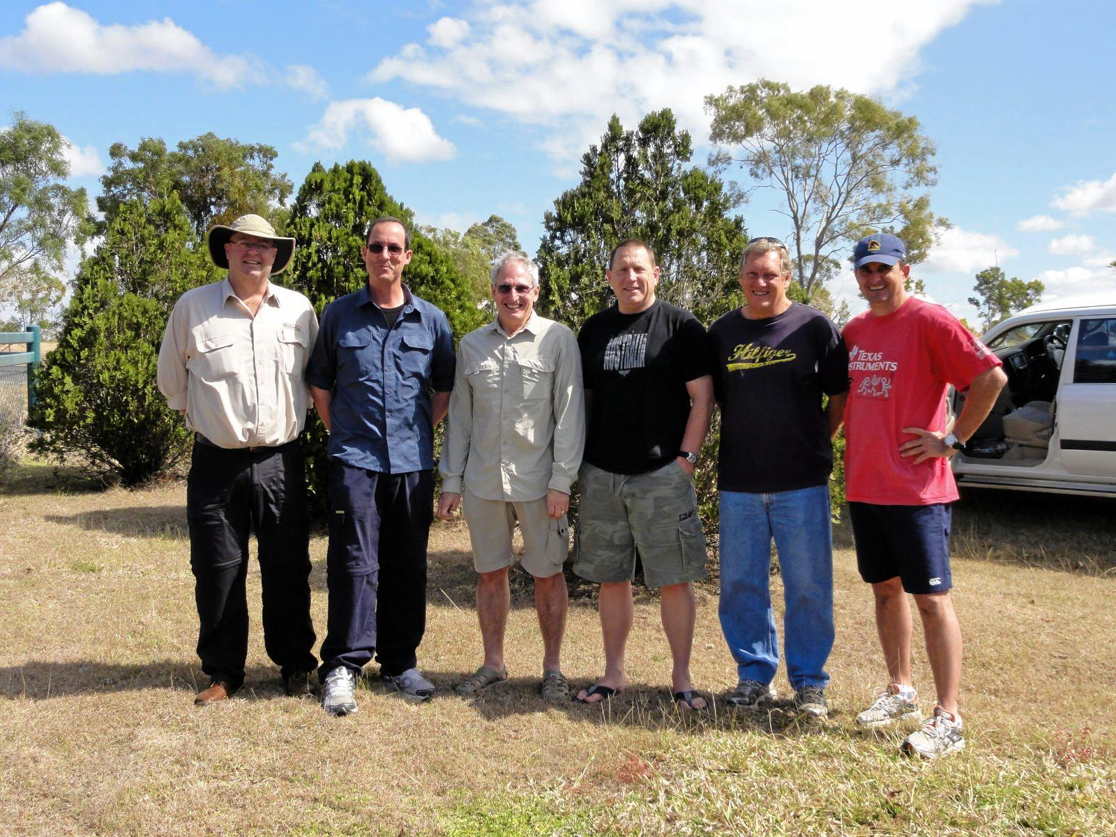 Simon Irwin, Scott McGregor, John Bryce, Neil Hancock, Ian Waraker and Clay Weston at Carnarvon Gorge in 2011.
