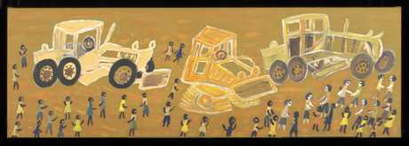 CULTURAL GIFTS: The majority of the paintings in the exhibition were donated to the National Museum by Wayne and Vicki McGeoch such as Jean Inyalanka Burk's painting, Making the Cut Line with Len Beadell.
