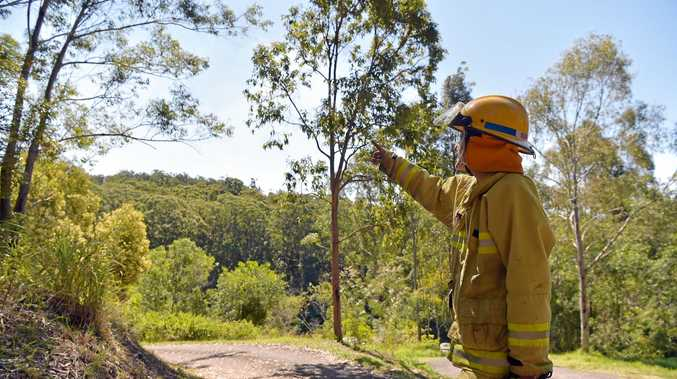FIRE crews remain on the scene of a Eudlo bushfire. Yesterday Deb Simms from the Mooloolah Station kept an eye on of the situation from Mossy Bank Road.