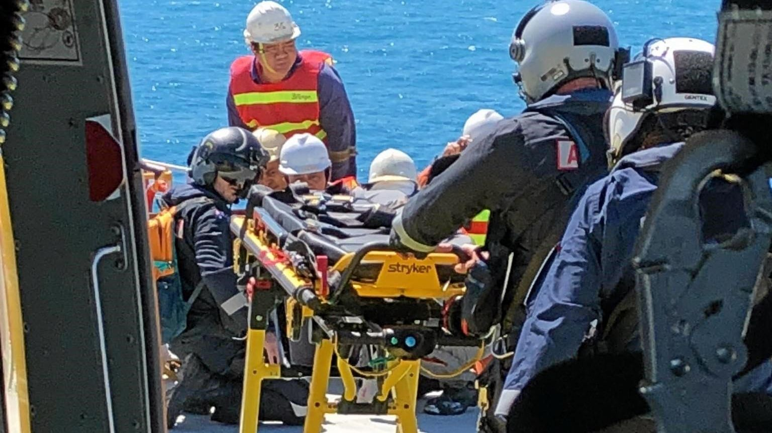 RACQ CQ Rescue landed on the deck of the 229-metre long bulk carrier MV Mario GO to airlift an injured Filipino sailor.