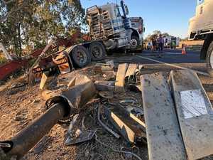 Grafton truck rolls down embankment near Casino