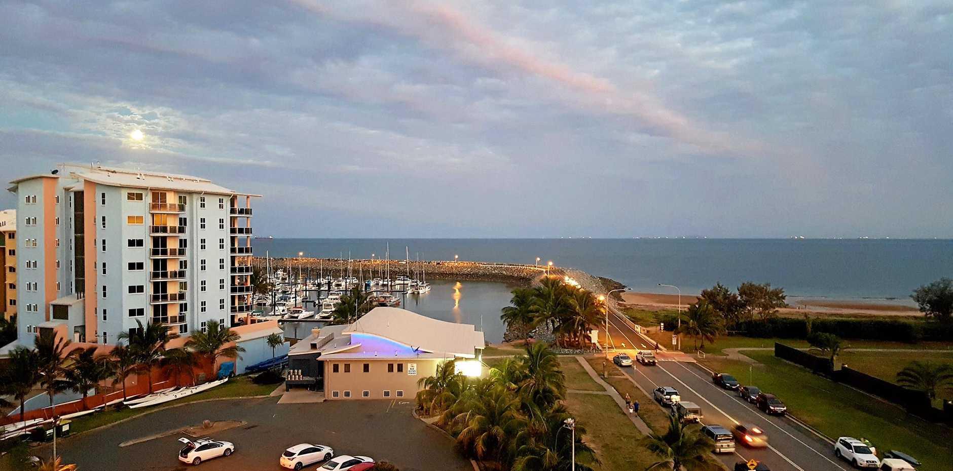 Mackay Harbour marina, southern breakwater and the Breakwater Bar and Restaurant.