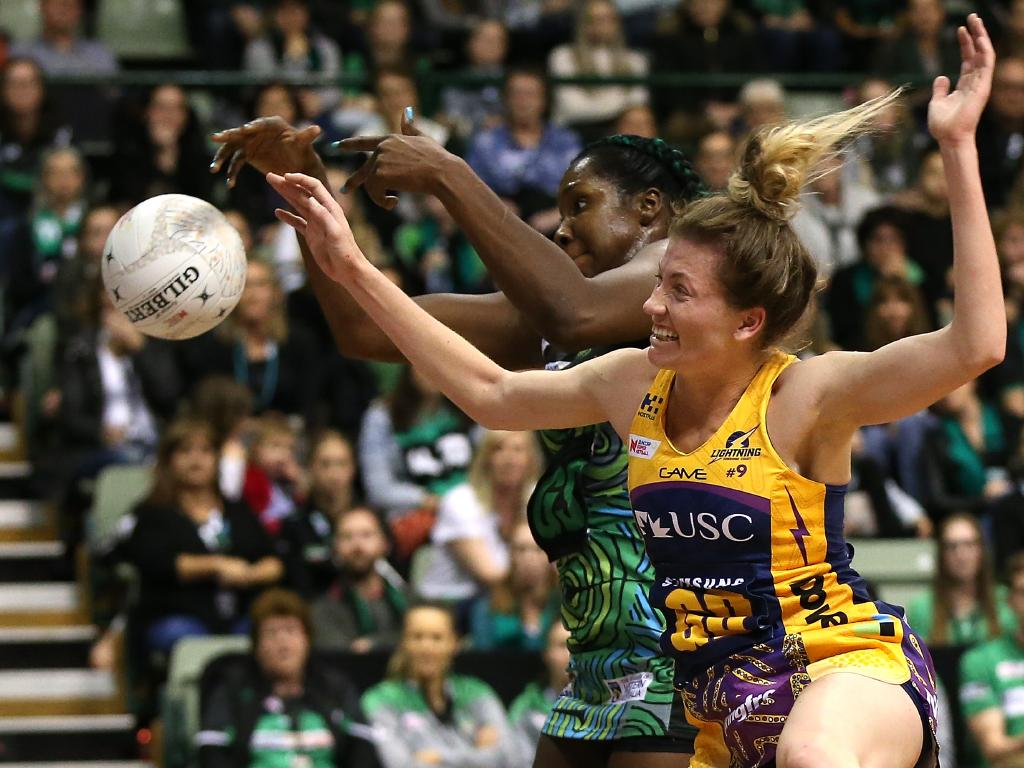 Karla Pretorius of the Lightning clashes with the Fever's Jhaniele Fowler during the round 10 Super Netball match between the Fever and the Lightning at HBF Stadium in Perth. Picture: Getty Images