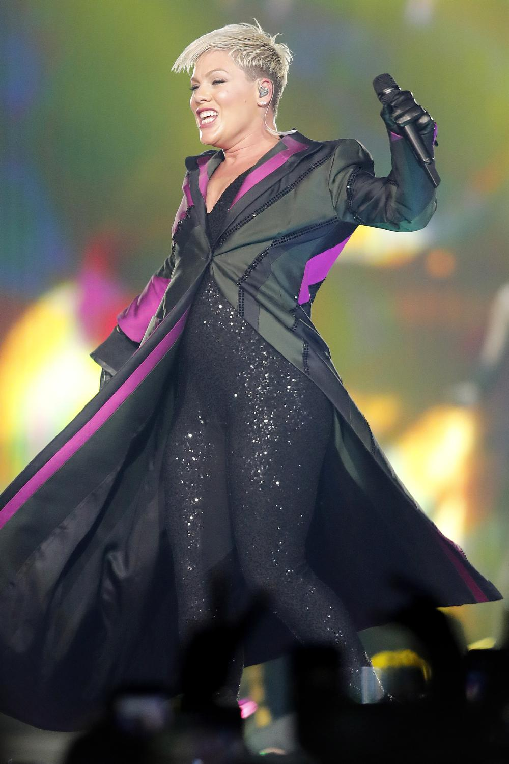 P!NK in action at the Brisbane Entertainment Centre last week. Picture: Josh Woning/AAP