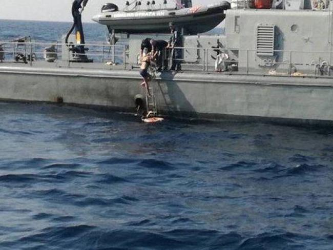 Kay Longstaff pictured being rescued by MORH Coast Guard in the Adriatic Sea. Picture: MORH