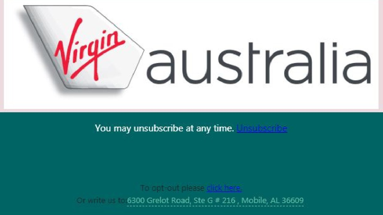 To opt out, you can totally write to Virgin Australia at its address in ALABAMA.