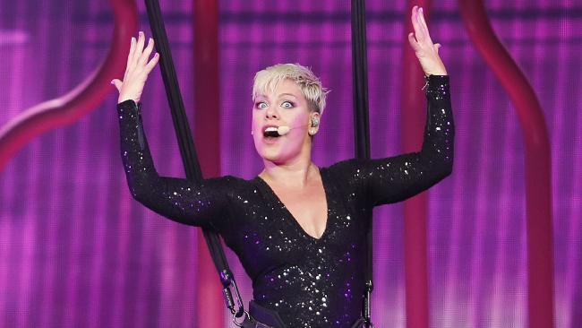P! NK in action in Brisbane. Picture: Josh Woning/AAP