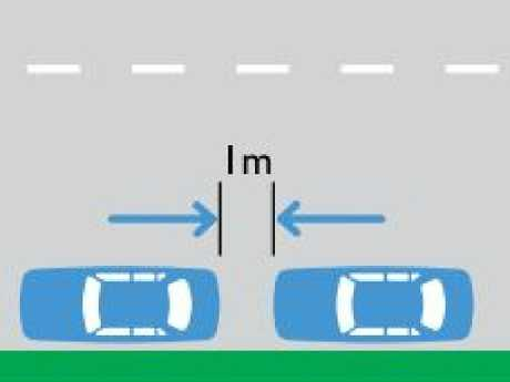 According to the RMS, 1m must be left between cars when parking. Picture: Road Users Handbook