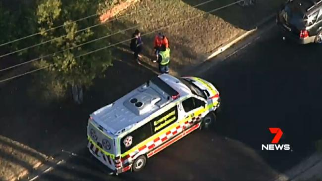 An elderly woman died after being struck by a garbage truck in Windsor. Picture: 7 News/Twitter