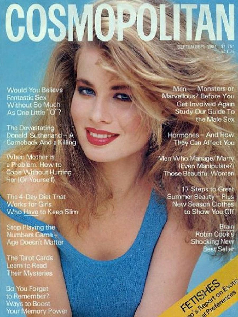 Deborah Hutton on the cover of Cosmopolitan in 1982.