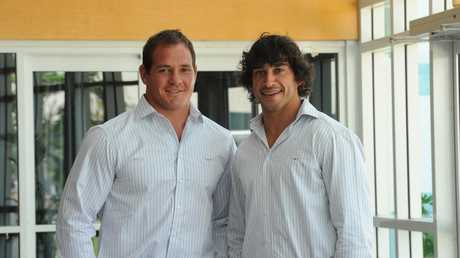 Cowboys co-captains, Matt Scott and Johnathan Thurston, when first appointed in 2011.