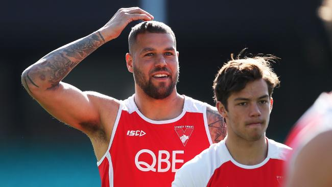 This week Lance Franklin has the most talked-about groin in footy. Picture. Phil Hillyard