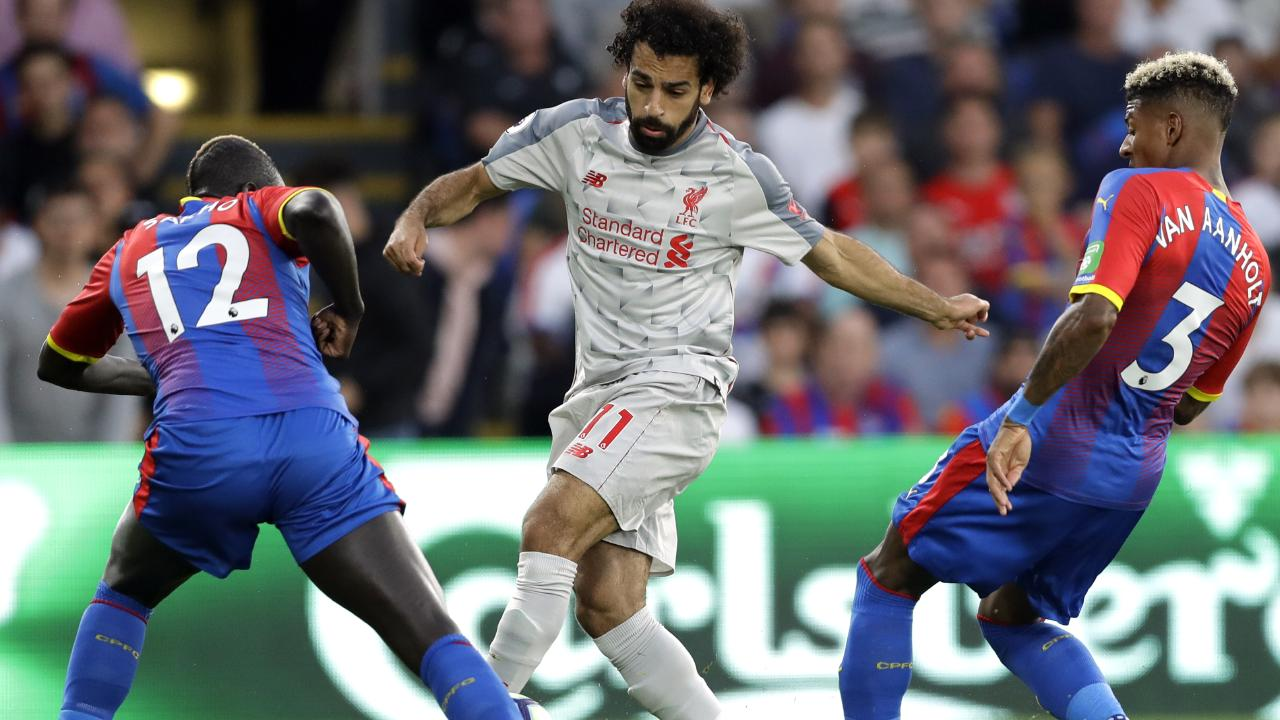 Mohamed Salah was the centre of attention at Selhurst Park. Picture: AP.