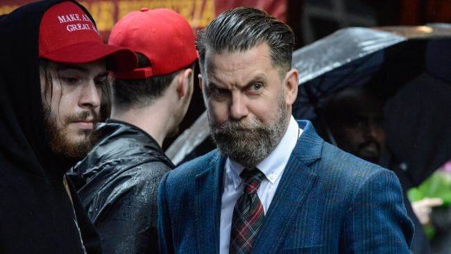 Gavin McInnes, right-wing commentator and founder of controversial men's rights group The Proud Boys, is heading to Australia in November. Picture: Stephanie Keith/Getty Images